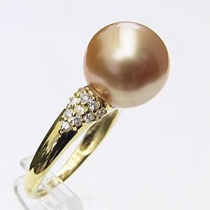 南洋白蝶真珠真珠:リング:ゴールド系:K18:コールド