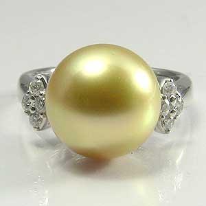 真珠:パール:指輪:リング:南洋白蝶真珠:12mm:ゴールド:ダイヤモンド:PT900:プラチナ