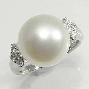 真珠:パール:指輪:リング:南洋白蝶真珠:12mm:ピンクホワイト:ダイヤモンド:PT900:プラチナ
