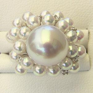 南洋白蝶真珠:あこや本真珠:リングダイヤモンド:リング:K18:ホワイトゴールド