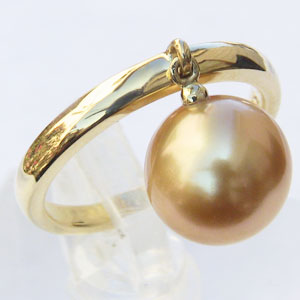 真珠:パール:リング:南洋白蝶真珠:9mm:ゴールド系:K18:ゴールド:指輪:ゴールデンパール