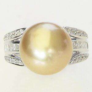 真珠:パール:リング:南洋白蝶真珠:真珠の直径:約12mm:ゴールド色:ダイヤモンド:0.92ct:Pt900:プラチナ:指輪
