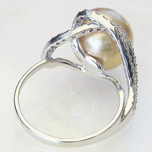 真珠 パール:リング:南洋白蝶真珠:ゴールド系:11mm:K18WG:ホワイトゴールド:指輪:ダイヤモンド