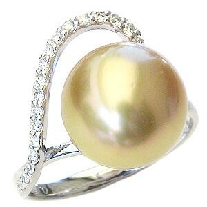 真珠:パール:リング:南洋白蝶真珠:真珠の直径:約11mm:ゴールド色:ダイヤモンド:0.15ct:Pt900:プラチナ:指輪