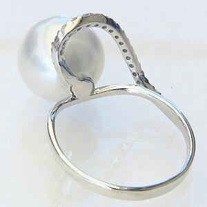 真珠 パール:リング:南洋白蝶真珠:ピンクホワイト系:11mm:K18WG:ホワイトゴールド:指輪:ダイヤモンド