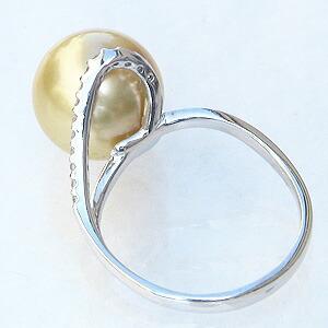 真珠:パール:リング:南洋白蝶真珠:真珠の直径:約11mm:ゴールド色:ダイヤモンド:0.11ct:K18WG:ホワイトゴールド:指輪