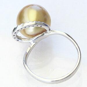 真珠:パール:リング:南洋白蝶真珠:真珠の直径:約11mm:ゴールド色:ダイヤモンド:0.09ct:K18WG:ホワイトゴールド:指輪