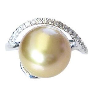 真珠:パール:リング:南洋白蝶真珠:真珠の直径:約11mm:ゴールド色:ダイヤモンド:0.21ct:Pt900:プラチナ:指輪