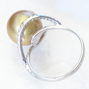 真珠:パール:リング:南洋白蝶真珠:真珠の直径:約11mm:ゴールド色:ダイヤモンド:0.21ct:K18WG:ホワイトゴールド:指輪