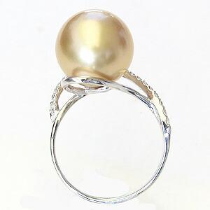 真珠:パール:リング:南洋白蝶真珠:真珠の直径:約12mm:ゴールド色:ダイヤモンド:0.21ct:K18WG:ホワイトゴールド:指輪