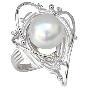 真珠パール リング 南洋白蝶真珠 PT900 プラチナ 直径11mm ホワイトピンク系 ダイヤモンド 5石 合計0.05ct 指輪