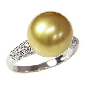 ブライダル リング パール 指輪 ホワイトゴールド 南洋真珠パールリング ダイヤモンド