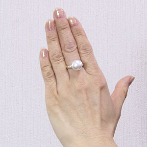 ブライダル リング パール 指輪 K18ゴールド  南洋真珠パールリング ダイヤモンド