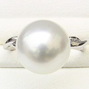 ブライダル リング パール 指輪 南洋真珠パールリング ホワイトゴールド ダイヤモンド