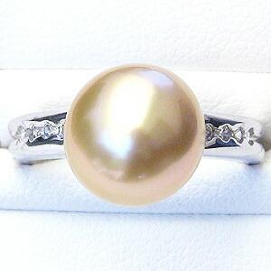 真珠 パール:リング:南洋白蝶真珠:10mm:ゴールド系:プラチナ:PT900:ダイヤモンド:ゴールデンパール:指輪