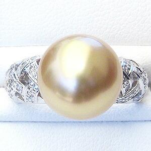 6月:パール:真珠:指輪:南洋白蝶真珠:12mm:ゴールド系:PT900:プラチナ:ダイヤモンド:0.30ct:リング