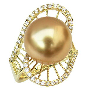 指輪 南洋白蝶真珠 ゴールデンパール リング K18ゴールド ダイヤモンド