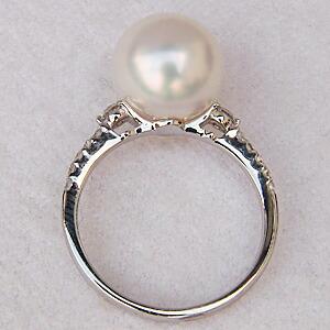 南洋白蝶真珠 指輪  パール リング PT900 プラチナ ダイヤモンド 6月誕生石