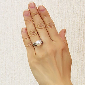 パールリング 真珠指輪 南洋白蝶真珠 ホワイトピンク パール 11mm プラチナ PT900 ダイヤモンド