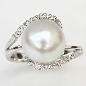 パールリング 真珠指輪 ダイヤモンド プラチナ PT900 パール 南洋白蝶真珠 11mm