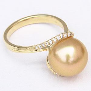 ゴールデンパール リング 真珠指輪 ダイヤモンド K18 ゴールド パールリング 南洋白蝶真珠 11mm