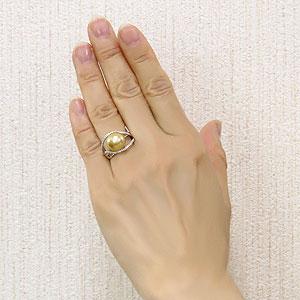 ゴールデンパール リング 真珠指輪 ダイヤモンド ホワイトゴールド パール 南洋白蝶真珠 ゴールド 11mm