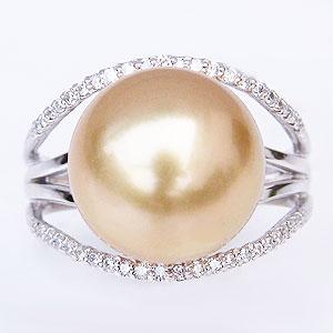 ゴールデンパールリング 真珠指輪 ダイヤモンド 0.22ct プラチナ PT900 パール 南洋白蝶真珠 12mm ゴールド系