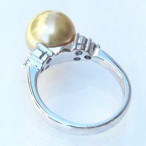 真珠:パール:リング:南洋白蝶真珠:10mm:ゴールド系:ダイヤモンド:K18WG:ホワイトゴールド:指輪