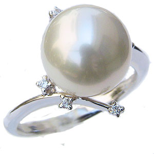 真珠:パール:リング:南洋白蝶真珠:11mm:ホワイト系:ダイヤモンド:0.06ct:K18WG:ホワイトゴールド:指輪