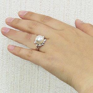パール:真珠:指輪:南洋白蝶真珠:12mm:PT900:プラチナ:ダイヤモンド:0.10ct:リング
