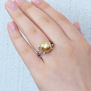 真珠:パール:リング:南洋白蝶真珠:12mm:ゴールド系:ダイヤモンド:0.06ct:K18WG:ホワイトゴールド:指輪