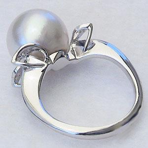パール:真珠:指輪:南洋白蝶真珠:12mm:PT900:プラチナ:ダイヤモンド:0.04ct:リング