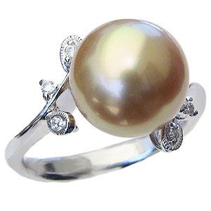 真珠:パール:南洋白蝶真珠:指輪:11mm:ダイヤモンド:0.06ct:PT900:プラチナ:リング:ゴールデンパール:金色