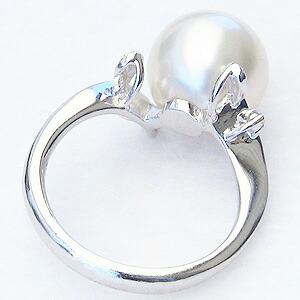真珠:パール:リング:南洋白蝶真珠:11mm:ブルーホワイト系:指輪:ダイヤモンド:0.06ct:PT900:プラチナ