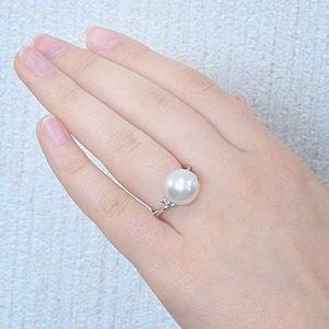 真珠:パール:リング:南洋白蝶真珠:12mm:ピンクホワイト系:ダイヤモンド:0.02ct:PT900:プラチナ:指輪