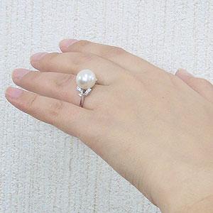 パール:真珠:指輪:南洋白蝶真珠:12mm:K18WG:ホワイトゴールド:ダイヤモンド:0.10ct:リング