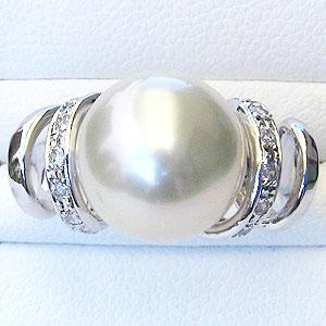 真珠:パール:リング:南洋白蝶真珠:11mm:ホワイト系:ダイヤモンド:0.16ct:K18WG:ホワイトゴールド:指輪