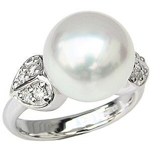 .真珠パール リング 南洋白蝶真珠 PT900 プラチナ 直径11mm ピンクホワイト系 ダイヤモンド 8石 合計0.21ct 指輪