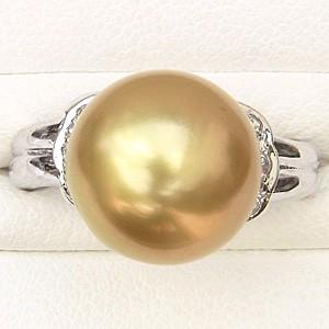 真珠パール リング 南洋白蝶真珠 K18WG ホワイトゴールド 真珠の直径11mm ゴールド系 ダイヤモンド 6石 合計0.12ct リング 指輪