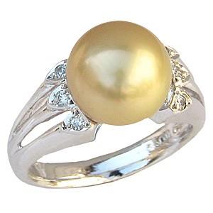 真珠パール リング 南洋白蝶真珠 K18WG ホワイトゴールド 真珠の直径11mm ゴールド系 ダイヤモンド 22石 合計0.26ct 指輪 リング