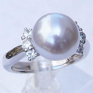 真珠:パール:リング:南洋白蝶真珠:10mm:ピンクホワイト系:ダイヤモンド:0.33ct:K18WG:ホワイトゴールド:指輪