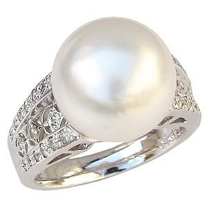 真珠パール リング 南洋白蝶真珠 K18WG ホワイトゴールド 真珠の直径12mm ホワイトピンク系 ダイヤモンド 30石 合計0.28ct リング 指輪