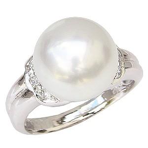 真珠パール リング 南洋白蝶真珠 PT900 プラチナ 真珠の直径11mm ホワイトピンク系 ダイヤモンド 6石 合計0.12ct リング 指輪