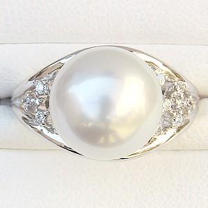 真珠パール リング 南洋白蝶真珠 PT900 プラチナ 直径12mm ホワイトピンク系 ダイヤモンド 12石 合計0.12ct 指輪