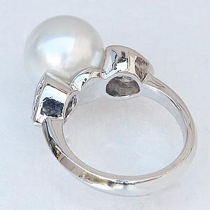 .真珠パール リング 南洋白蝶真珠 K18WG ホワイトゴールド 直径11mm ピンクホワイト系 ダイヤモンド 8石 合計0.21ct 指輪