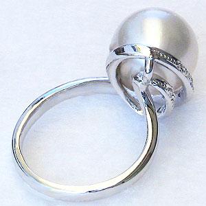 真珠:パール:リング:南洋白蝶真珠:12mm:ピンクホワイト系:ダイヤモンド:0.13ct:PT900:プラチナ:指輪