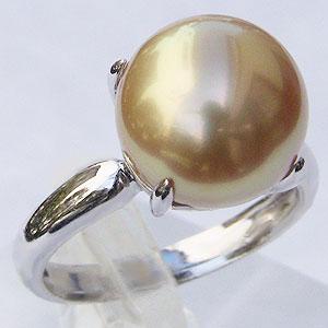 真珠:ゴールデンパール:リング:南洋白蝶真珠:11mm:ゴールド系:K18WG:ホワイトゴールド:指輪