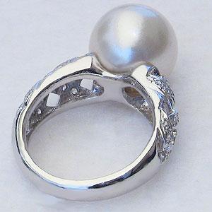 パール:真珠:指輪:南洋白蝶真珠:12mm:ピンクホワイト系:K18WG:ホワイトゴールド:ダイヤモンド:0.30ct:リング