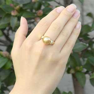 パール:リング:真珠:指輪:南洋白蝶真珠:ゴールド系:11mm:K18:ゴールド:ダイヤモンド:0.05ct:ゴールデンパール