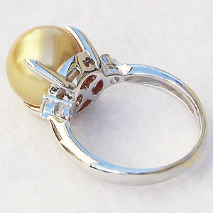 真珠:ゴールデンパール:リング:南洋白蝶真珠:12mm:ゴールド系:ダイヤモンド:0.10ct:K18WG:ホワイトゴールド:指輪
